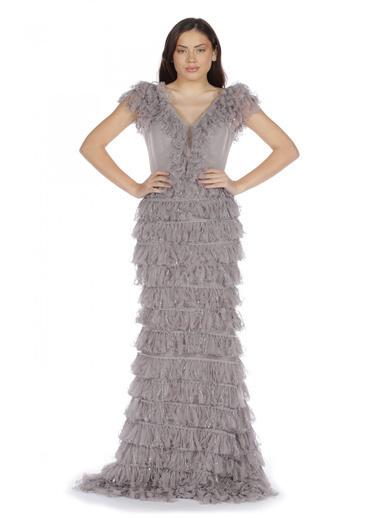 Pierre Cardin Fırfırlı Kesme Taşlı Uzun Abiye Elbise Gri